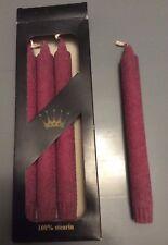 4 100% Stearin Candles  - 24cm - 9 Hour Burn Plum Burgandy Made in Denmark