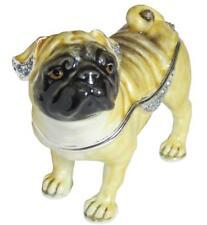 Pug Dog Bejeweled Enamel Hinged Trinket Box Austrian Crystals