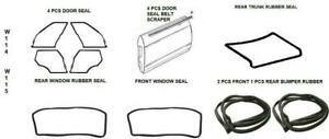 Full Rubber Door Trunk Bumper Window Seals 14 PCS Mercedes Benz W114 W115