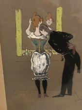 Zeichnung Antik 1890 Zum Identifizieren Verbessert Gemälde Mann und Frau Spiegel