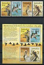 Jamaika Jamaica 1985 Pelikane Vögel Birds Audubon 603-606 + Block 25 MNH