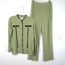 Exclusively Misook Olive Green Knit Pant Suit Set M Black Button Top Long Sleeve
