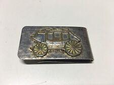 Vintage Money Clip Wells Fargo Stagecoach Silver Gold Tone Etched Raised Logo