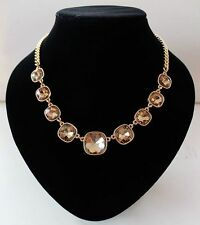 GOLD TONE THICK LINKED CHAIN WITH FACETED LIGHT AMBER ACRYLIC CRYSTAL NECKLACE
