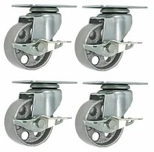 "4 All Steel Swivel Plate Caster 3"" Wheels with Brake Lock GRAY Heavy Duty"