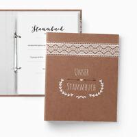 Stammbuch Hochzeit   Familienstammbuch   A5   Vintage   Spitze Boho Kraft braun