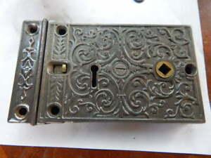 Ornate 1800's Door Rim Lock Complete Security Latch (RL 22) Refurbished