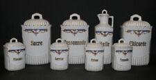 Französisches Vorratsdosen Set mit Ölkanne, Keramik, Gold,