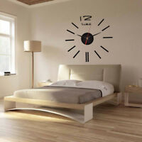 Modern Large 3D Mirror  Wall Clock Sticker Home Office Room  Decor RASK