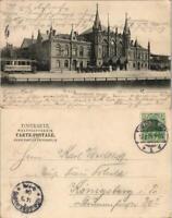 Ansichtskarte Hildesheim Hauptbahnhof, Straßenbahn - Kutschen 1904