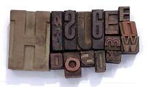 Letterpress Letter Wood Type Printers Block Lot Of 15 Typography Eb 97