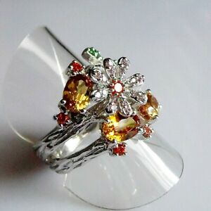 Unikat Zauberhafter Morganit Saphir Tsavorit Blüten Ring 925er Silber 17,5 mm 55