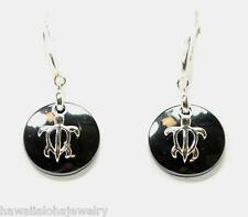 ROUND DISC BLACK CERAMIC RHODIUM OVER STER SILVER HAWAIIAN TURTLE HOOK EARRINGS