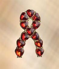 NEW Red Gemstone Gold Ribbon Aids / HIV, Stroke Charity Awareness Pin Brooch Pin