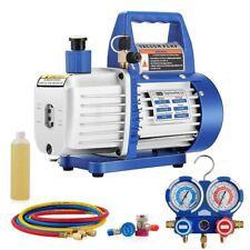 VIVOHOME 3.5CFM 1/4HP Air Vacuum Pump HVAC Refrigerant Kit AC Manifold Gauge US
