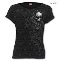 Spiral Direct Ladies Black Gothic SKULL SCROLL Impression T Shirt Top All Sizes