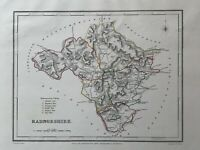 1848 Radnorshire, Wales Original Antique Hand Coloured Map 172 Years Old