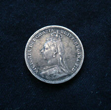 Rare Jubilee bust variety XF 1893 threepence, open 3. KM#758 Spink 3931