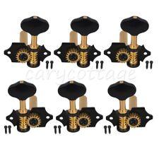 Black Golden Open Style Guitar Machine Head Tuning Pegs Locking Tuners 3L3R 18:1