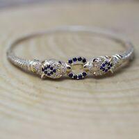 925 Sterling Silver Handmade Authentic Turkish Sapphire Bracelet Bangle
