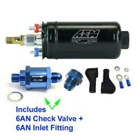 GENUINE AEM Metric 400LPH Inline Fuel Pump + 6AN Inlet Fitting / 6AN Check Valve