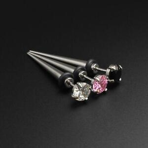 Fake Ear Stretcher Plugs Earrings Surgical Steel Fake Gauge Taper With Gem Inlay