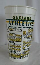 "OAKLAND ATHLETICS A.L. WEST CHAMPIONS 2003 GAME CALENDAR 7"" DRINK CUP"
