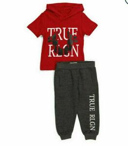 TRUE RELIGION Boys 2pc Outfit Set Hoodie Fleece Joggers Horseshoe Logo
