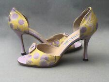 $895 Manolo Blahnik Peep Toe Yellow w Purple Dots Stilettos, Size 36.5 (6.5)M