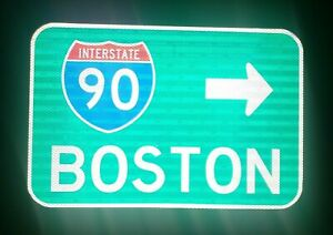 BOSTON Interstate 90 route road sign, Massachusetts, Red Sox,