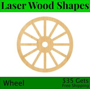 Wheel Laser Cut Out Wood Shape Craft Supply - Woodcraft Cutout