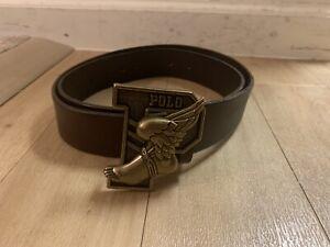 Polo Ralph Lauren P-Wing Buckle Winged Leather Belt Men's Size 38