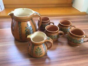 (be)- v. Hoesslin - Kanne Saftkrug - 2 Kannen + 4 Becher - Keramik - handgemacht