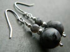 Grey Labradorite Gemstones & 925 Sterling Silver Elegant Handmade Drop Earrings