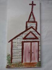 Folk Artwork Of Church On Canvas 16x8 one of a kind exclusive acrylic art inv241