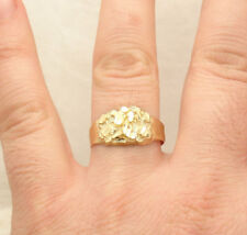 Size 11 Men's Diamond Cut Nugget Style Ring Real Solid 10K Yellow Gold 2.5gr