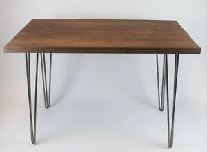 Solid Wood Rustic Desk with Industrial Hairpin Legs