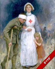 RED CROSS NURSE CARES FOR SOLDIER & ORPHAN PAINTING WAR HISTORY ART CANVAS PRINT