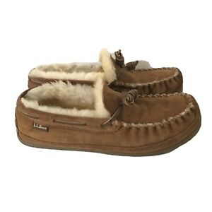 LL BEAN Brown Suede Wicked Good Moccasins Slippers Sheepskin Lined Womens 11