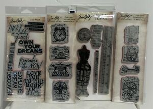 Tim Holtz Stampers Anonymous COLLAGE Fashion Vintage Antiques Rubber Stamps Lot