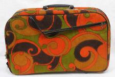 Vintage 1960s Mod Carry On Bag Corduroy Orange Green Black A.D. Sutton Japan