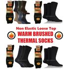 Mens None Elastic Brushed Warm Thermal Socks, Can Use for Diabetic Fit Size 6-11