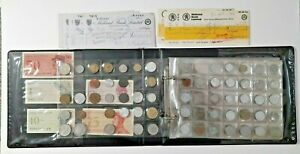 Coin Collection in old Album, Indonesia Banknotes, Midland Bank Cheques, Job Lot
