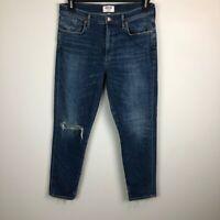 AGOLDE Women's Sz 31 High Rise Crop Skinny Distressed Denim Jeans Sophie