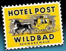 Magnifique âge Valise Autocollant luggage label 40er Hôtel Post WILDBAD Schwarzw.