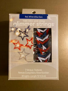 Pier 1 Imports Glimmer Strings Red White & Blue Stars NWT