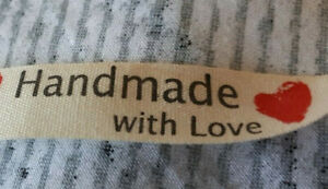 20x clothing LABELS HAND MADE WITH LOVE IN BEIGE WITH HEART