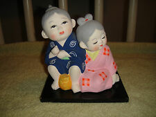 Superb Chinese Or Japanese Chalkware Figure Of Boy & Girl-Detailed-LOOK