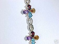 $1,271 COLORFUL 8.8 GRAMS 14K FLOWER TOPAZ AMETHYST CITRINE GARNET BRACELET
