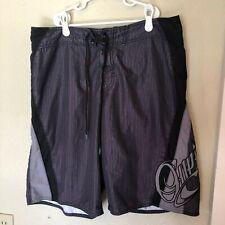 Vintage Mens Oneill Boardshorts Swimsuit Striped Dark Black Gray Size 32